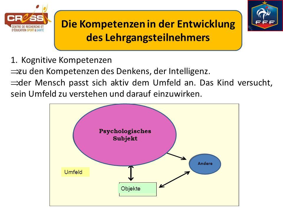 Die Kompetenzen in der Entwicklung des Lehrgangsteilnehmers 1.Kognitive Kompetenzen zu den Kompetenzen des Denkens, der Intelligenz. der Mensch passt