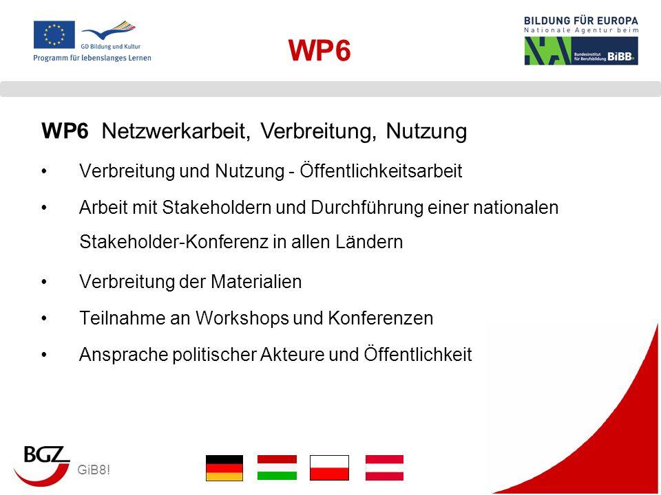 GiB8! WP6 Verbreitung und Nutzung - Öffentlichkeitsarbeit Arbeit mit Stakeholdern und Durchführung einer nationalen Stakeholder-Konferenz in allen Län