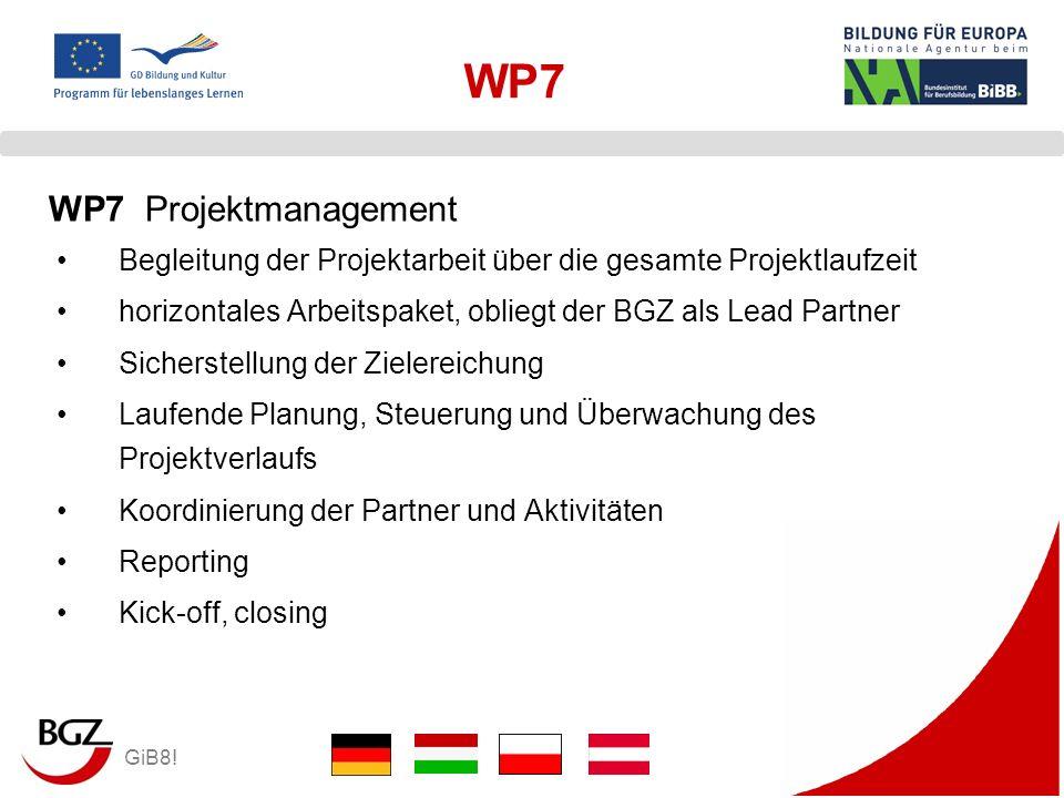 GiB8! WP7 Begleitung der Projektarbeit über die gesamte Projektlaufzeit horizontales Arbeitspaket, obliegt der BGZ als Lead Partner Sicherstellung der