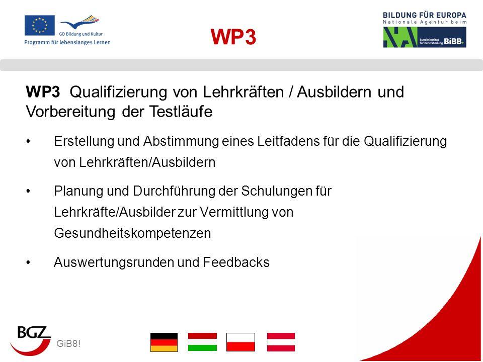GiB8! WP3 Erstellung und Abstimmung eines Leitfadens für die Qualifizierung von Lehrkräften/Ausbildern Planung und Durchführung der Schulungen für Leh