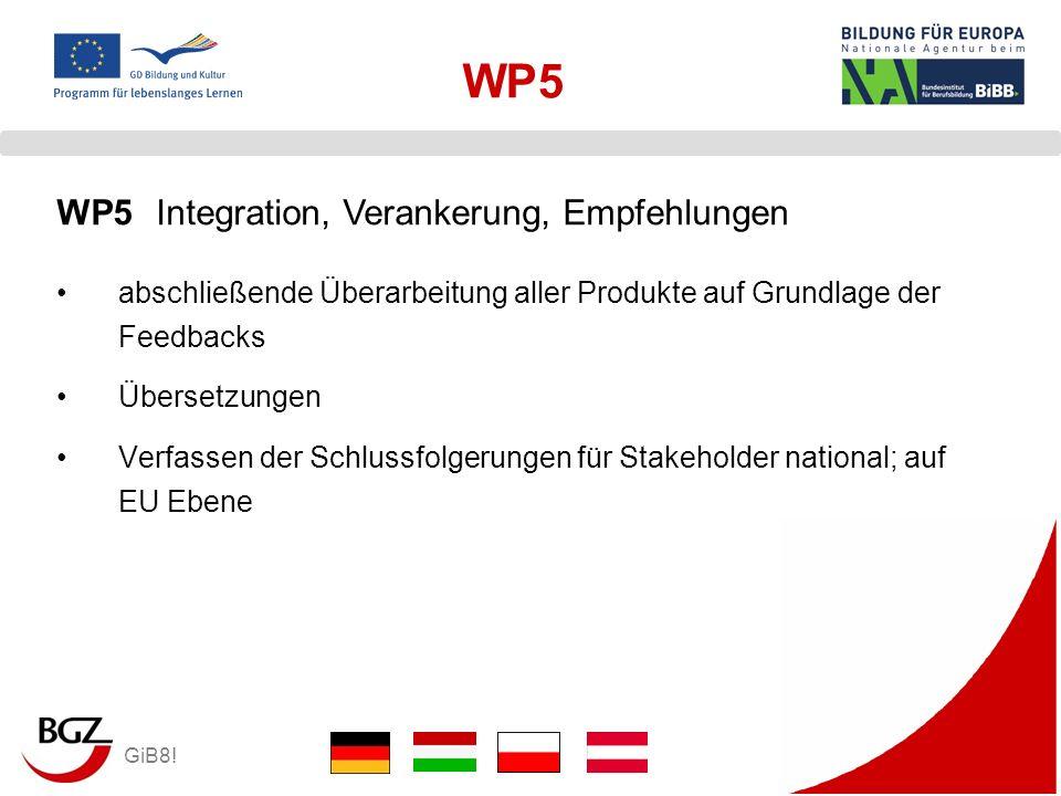 GiB8! WP5 abschließende Überarbeitung aller Produkte auf Grundlage der Feedbacks Übersetzungen Verfassen der Schlussfolgerungen für Stakeholder nation