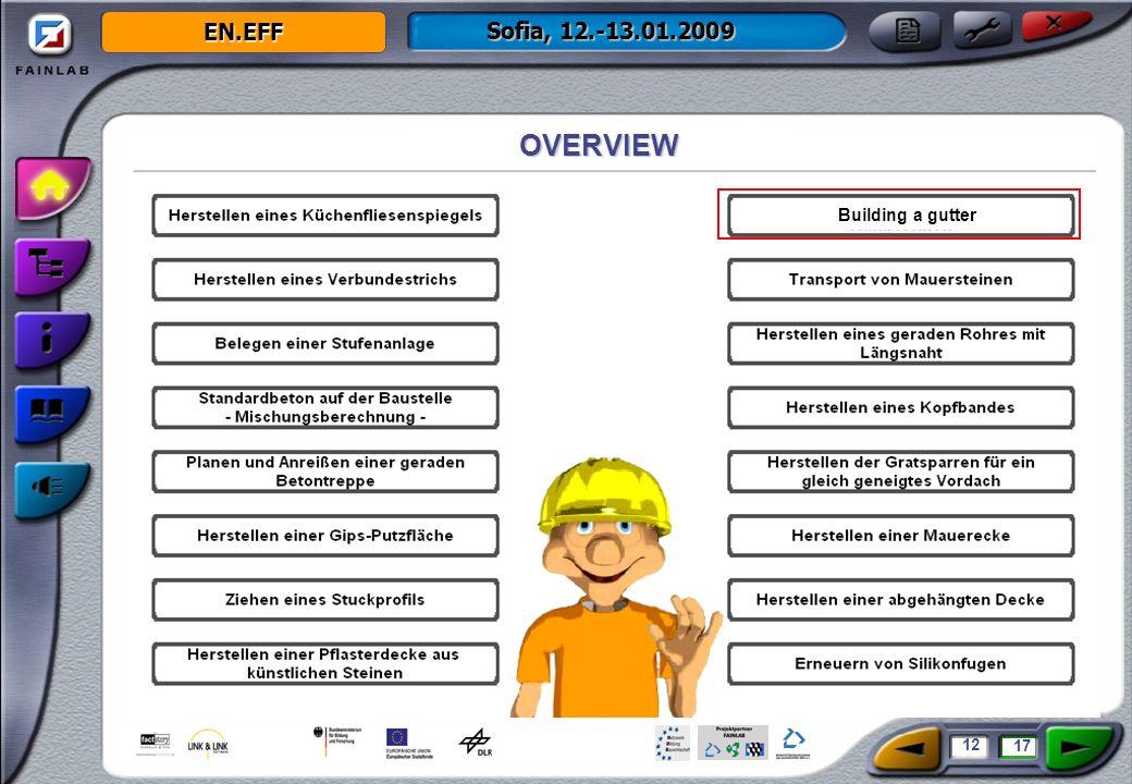 EN.EFF Sofia, 12.-13.01.2009 12 17 OVERVIEW Building a gutter