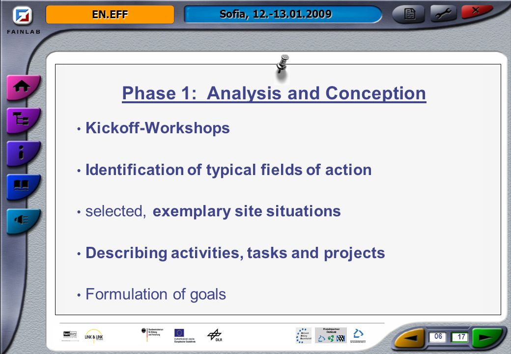 EN.EFF Sofia, 12.-13.01.2009 Programming the modules Production of movies, pictures and animations Designing the screenlayout Usability engineering Phase 2: Technical Execution 07 17