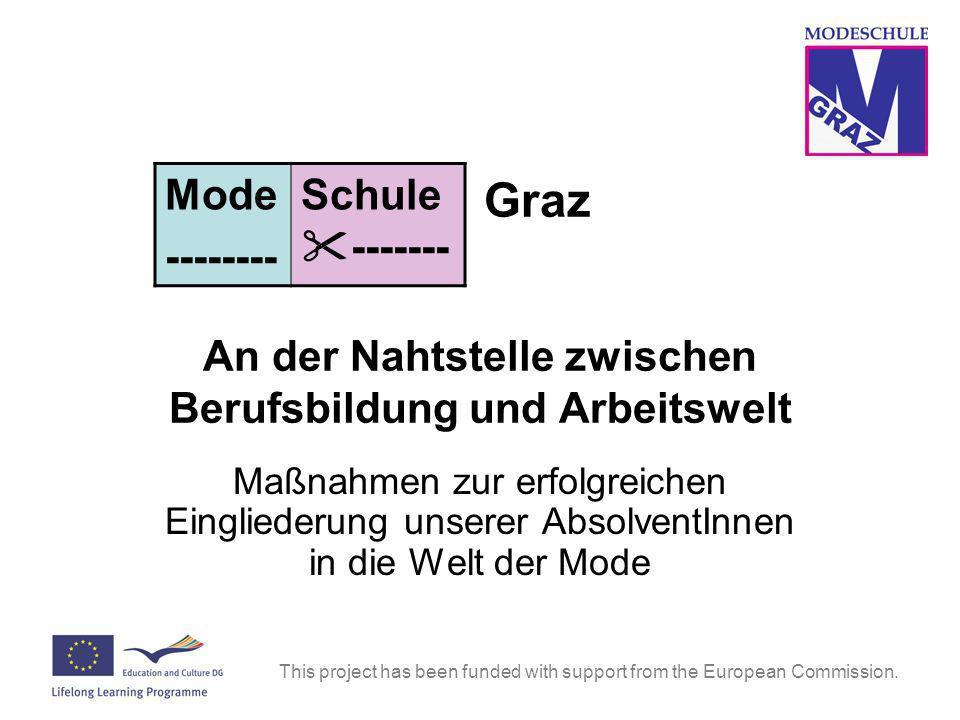 This project has been funded with support from the European Commission. Graz An der Nahtstelle zwischen Berufsbildung und Arbeitswelt Maßnahmen zur er