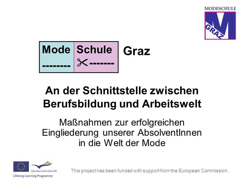Graz An der Schnittstelle zwischen Berufsbildung und Arbeitswelt Maßnahmen zur erfolgreichen Eingliederung unserer AbsolventInnen in die Welt der Mode Mode -------- Schule -------