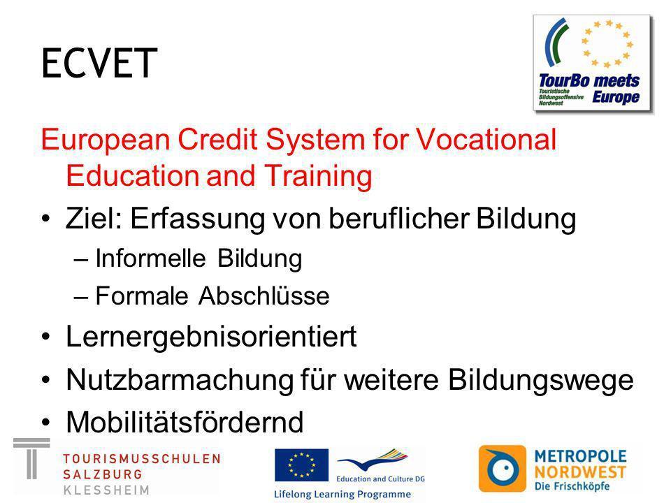 ECVET European Credit System for Vocational Education and Training Ziel: Erfassung von beruflicher Bildung –Informelle Bildung –Formale Abschlüsse Lernergebnisorientiert Nutzbarmachung für weitere Bildungswege Mobilitätsfördernd