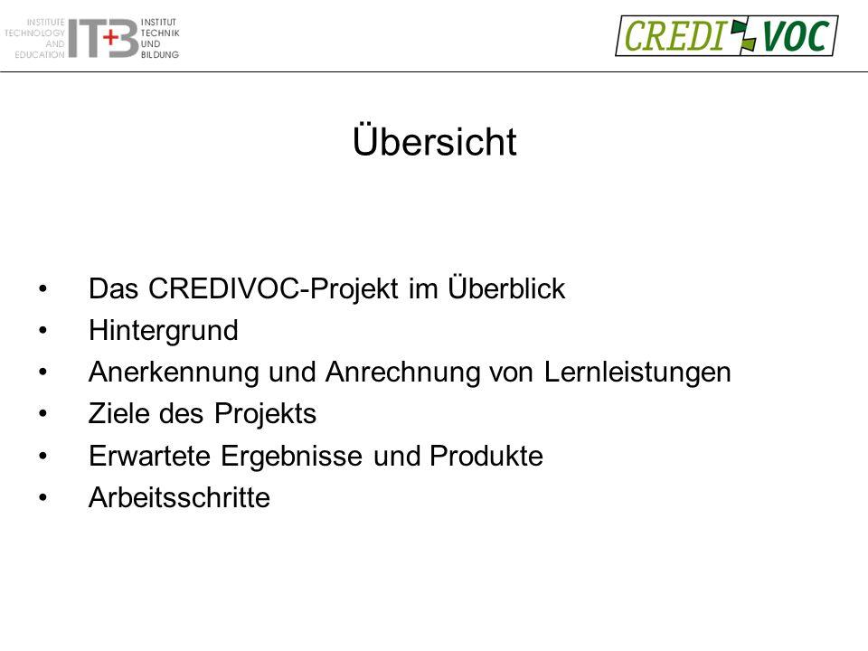 Übersicht Das CREDIVOC-Projekt im Überblick Hintergrund Anerkennung und Anrechnung von Lernleistungen Ziele des Projekts Erwartete Ergebnisse und Produkte Arbeitsschritte
