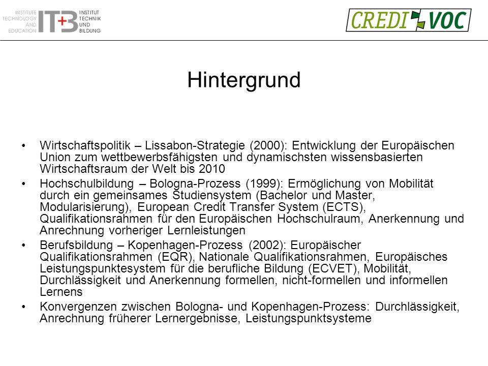 Hintergrund Wirtschaftspolitik – Lissabon-Strategie (2000): Entwicklung der Europäischen Union zum wettbewerbsfähigsten und dynamischsten wissensbasierten Wirtschaftsraum der Welt bis 2010 Hochschulbildung – Bologna-Prozess (1999): Ermöglichung von Mobilität durch ein gemeinsames Studiensystem (Bachelor und Master, Modularisierung), European Credit Transfer System (ECTS), Qualifikationsrahmen für den Europäischen Hochschulraum, Anerkennung und Anrechnung vorheriger Lernleistungen Berufsbildung – Kopenhagen-Prozess (2002): Europäischer Qualifikationsrahmen (EQR), Nationale Qualifikationsrahmen, Europäisches Leistungspunktesystem für die berufliche Bildung (ECVET), Mobilität, Durchlässigkeit und Anerkennung formellen, nicht-formellen und informellen Lernens Konvergenzen zwischen Bologna- und Kopenhagen-Prozess: Durchlässigkeit, Anrechnung früherer Lernergebnisse, Leistungspunktsysteme