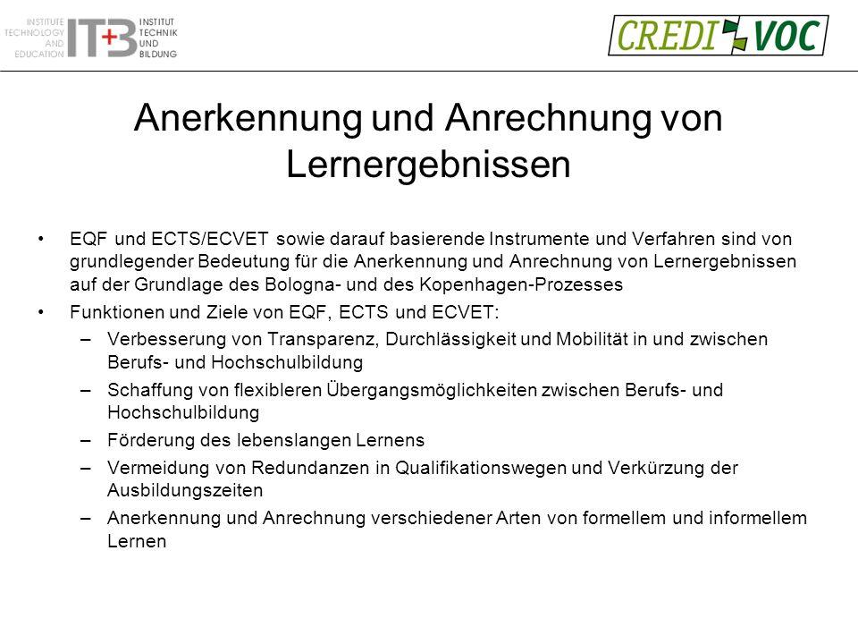 Anerkennung und Anrechnung von Lernergebnissen EQF und ECTS/ECVET sowie darauf basierende Instrumente und Verfahren sind von grundlegender Bedeutung für die Anerkennung und Anrechnung von Lernergebnissen auf der Grundlage des Bologna- und des Kopenhagen-Prozesses Funktionen und Ziele von EQF, ECTS und ECVET: –Verbesserung von Transparenz, Durchlässigkeit und Mobilität in und zwischen Berufs- und Hochschulbildung –Schaffung von flexibleren Übergangsmöglichkeiten zwischen Berufs- und Hochschulbildung –Förderung des lebenslangen Lernens –Vermeidung von Redundanzen in Qualifikationswegen und Verkürzung der Ausbildungszeiten –Anerkennung und Anrechnung verschiedener Arten von formellem und informellem Lernen