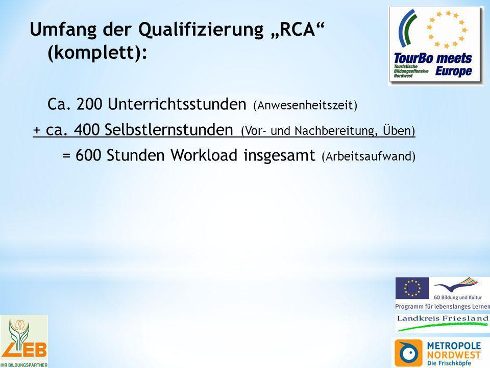 Umfang der Qualifizierung RCA (komplett): Ca. 200 Unterrichtsstunden (Anwesenheitszeit) + ca.