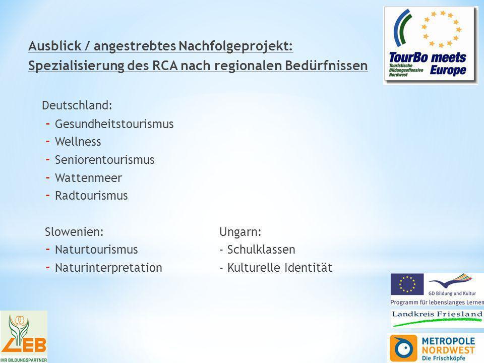 Ausblick / angestrebtes Nachfolgeprojekt: Spezialisierung des RCA nach regionalen Bedürfnissen Deutschland: - Gesundheitstourismus - Wellness - Seniorentourismus - Wattenmeer - Radtourismus Slowenien:Ungarn: - Naturtourismus- Schulklassen - Naturinterpretation- Kulturelle Identität