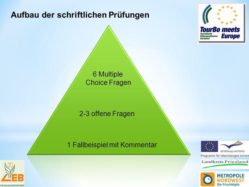 1 Fallbeispiel mit Kommentar 2-3 offene Fragen 6 Multiple Choice Fragen Aufbau der schriftlichen Prüfungen