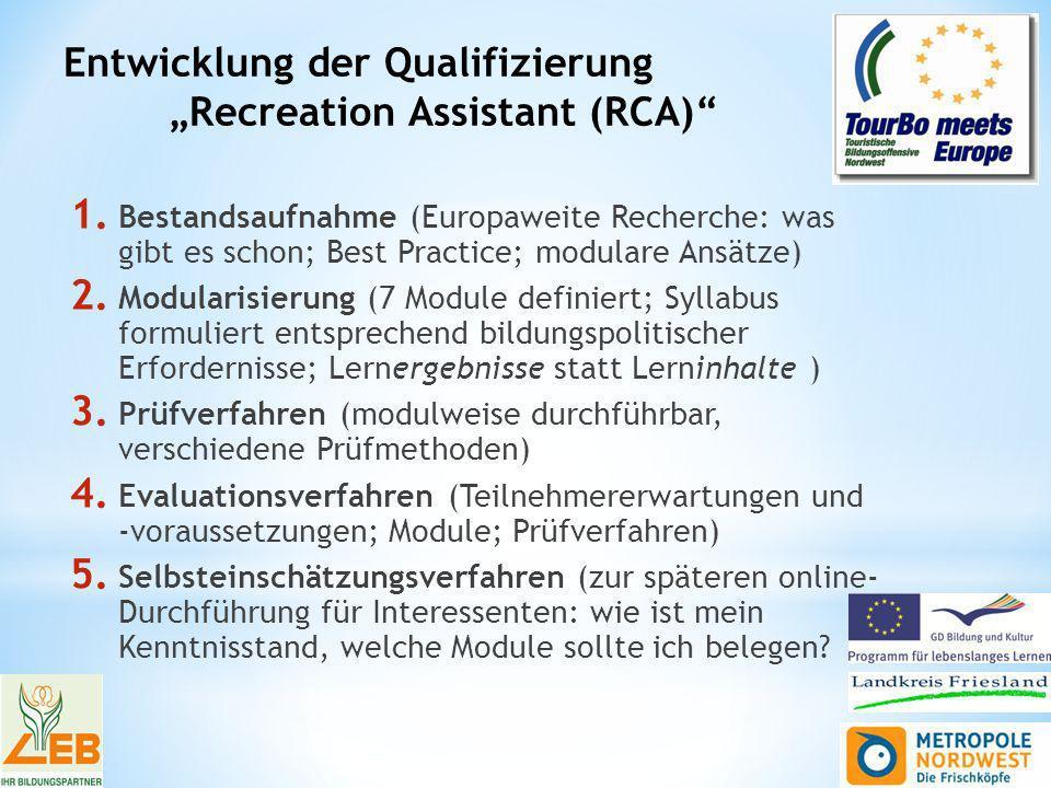 Entwicklung der Qualifizierung Recreation Assistant (RCA) 1.
