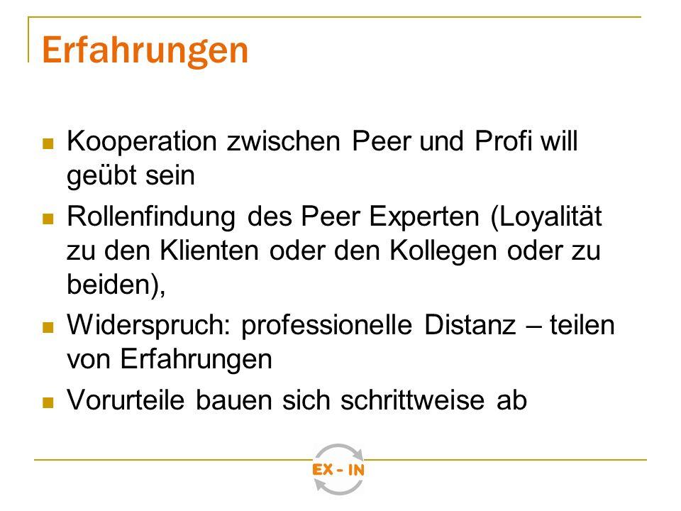 Erkenntnisse Leitung muss von EX-IN überzeugt sein EX-IN verursacht eine Veränderung der Organisation insgesamt Supervision/Intervision für Peer Spezialisten unerlässlich Nur ein Peer im Team / in der Organisation ist zu wenig