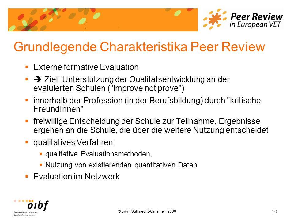 10 © öibf, Gutknecht-Gmeiner 2008 Grundlegende Charakteristika Peer Review Externe formative Evaluation Ziel: Unterstützung der Qualitätsentwicklung a