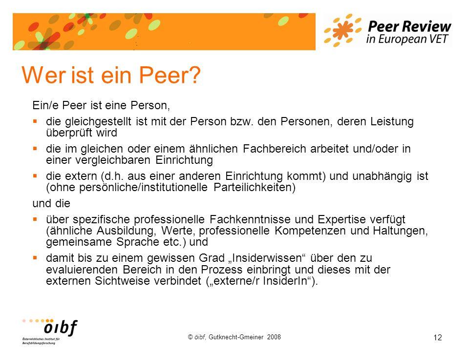 12 © öibf, Gutknecht-Gmeiner 2008 Wer ist ein Peer? Ein/e Peer ist eine Person, die gleichgestellt ist mit der Person bzw. den Personen, deren Leistun