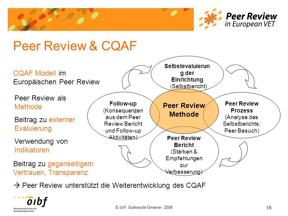 16 © öibf, Gutknecht-Gmeiner 2008 Peer Review & CQAF Peer Review Prozess (Analyse des Selbstberichts; Peer Besuch) Follow-up (Konsequenzen aus dem Pee