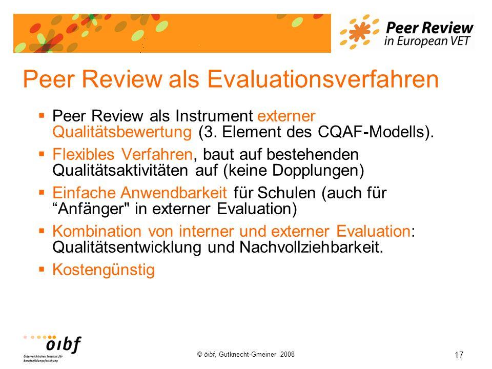 17 © öibf, Gutknecht-Gmeiner 2008 Peer Review als Evaluationsverfahren Peer Review als Instrument externer Qualitätsbewertung (3. Element des CQAF-Mod