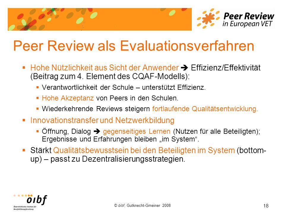 18 © öibf, Gutknecht-Gmeiner 2008 Peer Review als Evaluationsverfahren Hohe Nützlichkeit aus Sicht der Anwender Effizienz/Effektivität (Beitrag zum 4.