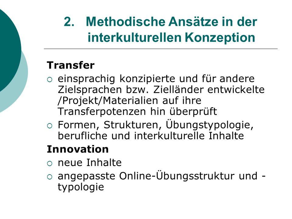 2.Methodische Ansätze in der interkulturellen Konzeption Transfer einsprachig konzipierte und für andere Zielsprachen bzw. Zielländer entwickelte /Pro