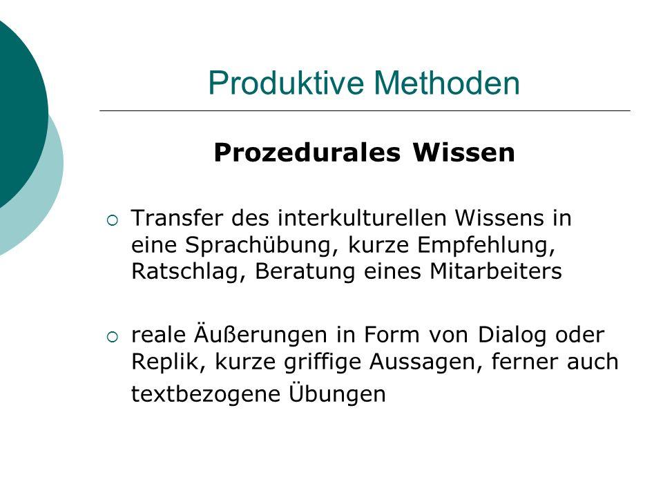 Produktive Methoden Prozedurales Wissen Transfer des interkulturellen Wissens in eine Sprachübung, kurze Empfehlung, Ratschlag, Beratung eines Mitarbe