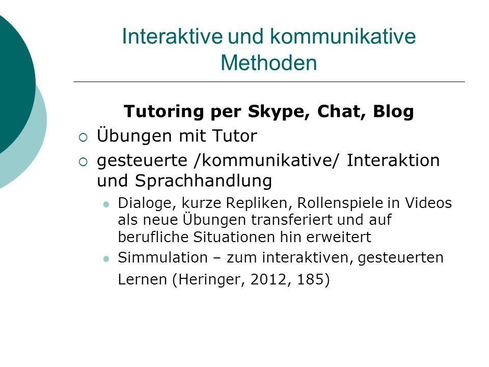 Interaktive und kommunikative Methoden Tutoring per Skype, Chat, Blog Übungen mit Tutor gesteuerte /kommunikative/ Interaktion und Sprachhandlung Dial