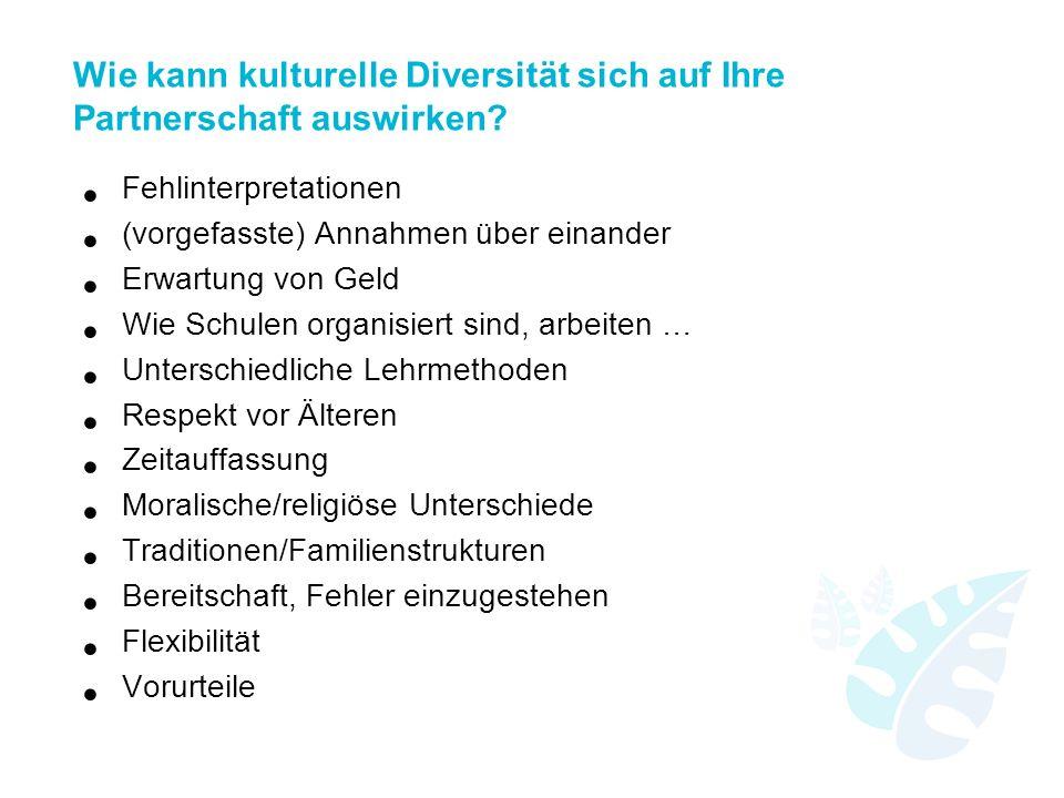 Wie kann kulturelle Diversität sich auf Ihre Partnerschaft auswirken? Fehlinterpretationen (vorgefasste) Annahmen über einander Erwartung von Geld Wie
