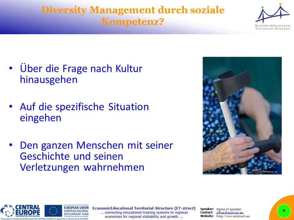 Name of speaker office@etstruct.eu http://www.etstruct.eu Diversity Management durch soziale Kompetenz? Über die Frage nach Kultur hinausgehen Auf die