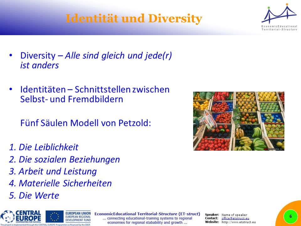 Name of speaker office@etstruct.eu http://www.etstruct.eu Identität und Diversity Diversity – Alle sind gleich und jede(r) ist anders Identitäten – Schnittstellen zwischen Selbst- und Fremdbildern Fünf Säulen Modell von Petzold: 1.