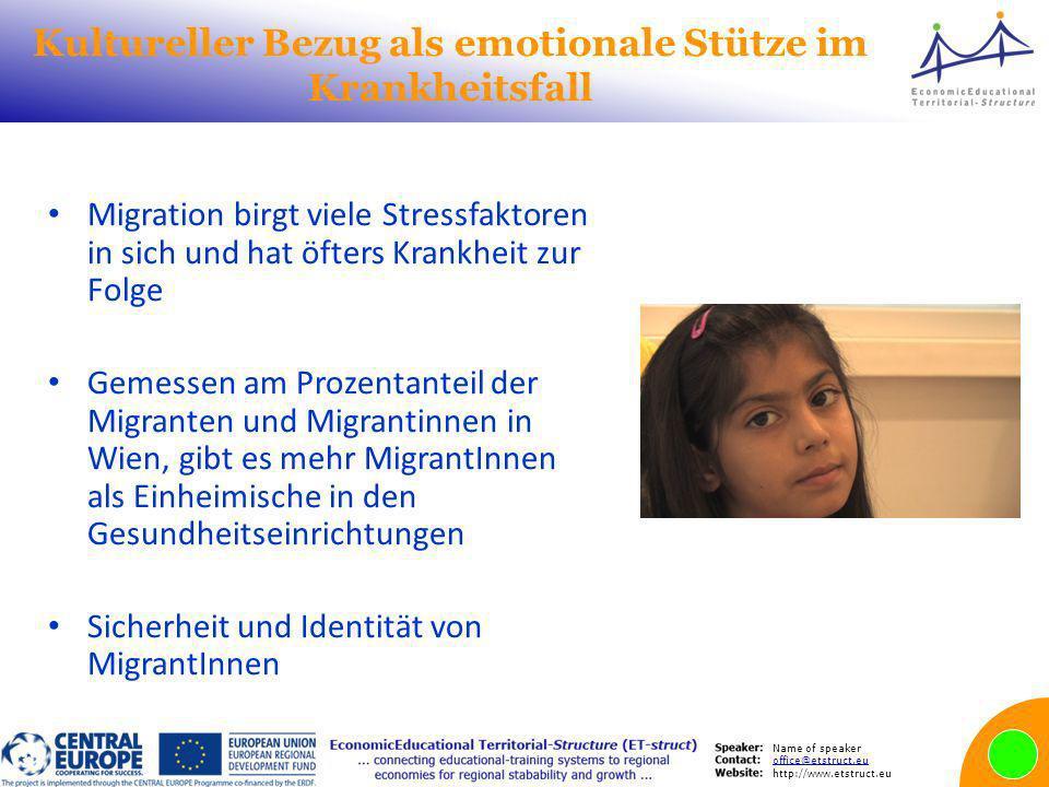Name of speaker office@etstruct.eu http://www.etstruct.eu Kultureller Bezug als emotionale Stütze im Krankheitsfall Migration birgt viele Stressfaktor