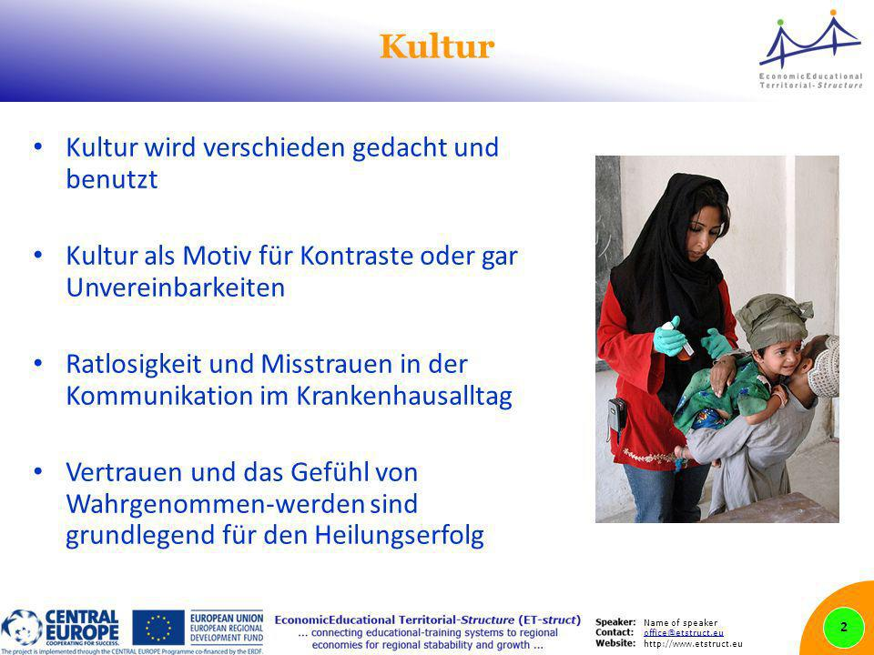 Name of speaker office@etstruct.eu http://www.etstruct.eu Kultur Kultur wird verschieden gedacht und benutzt Kultur als Motiv für Kontraste oder gar Unvereinbarkeiten Ratlosigkeit und Misstrauen in der Kommunikation im Krankenhausalltag Vertrauen und das Gefühl von Wahrgenommen-werden sind grundlegend für den Heilungserfolg 2