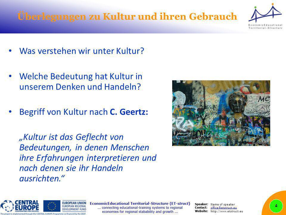 Name of speaker office@etstruct.eu http://www.etstruct.eu Überlegungen zu Kultur und ihren Gebrauch Was verstehen wir unter Kultur? Welche Bedeutung h
