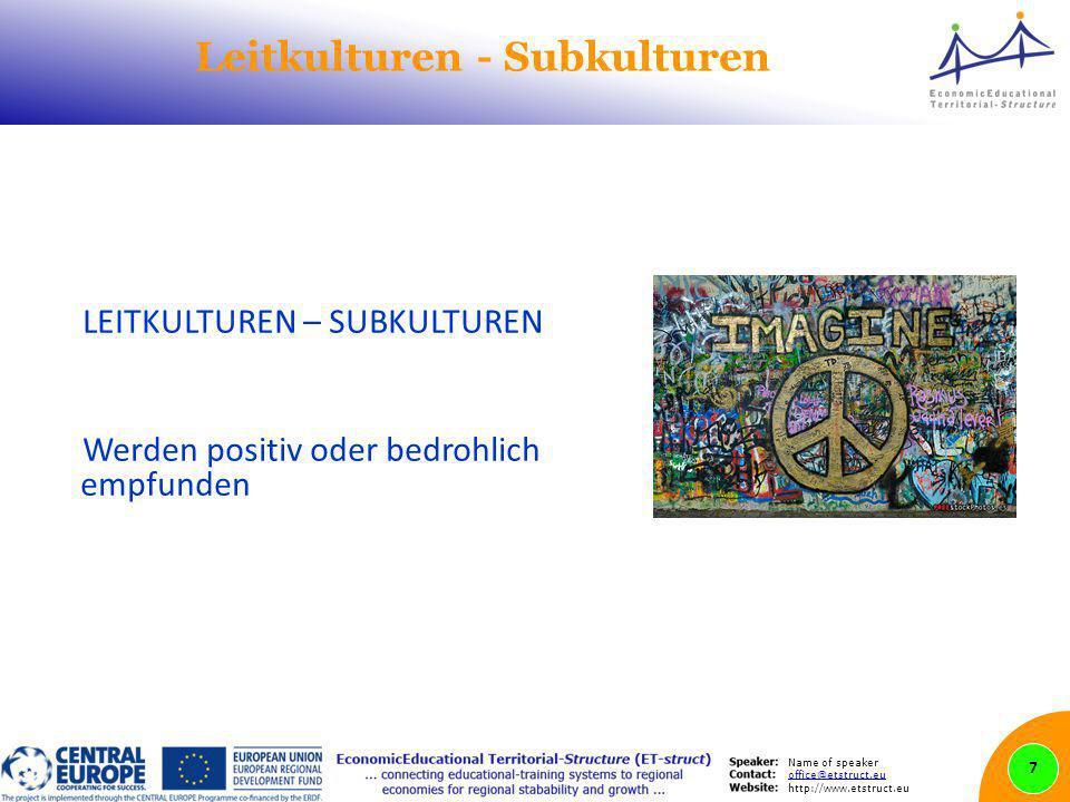 Name of speaker office@etstruct.eu http://www.etstruct.eu Leitkulturen - Subkulturen LEITKULTUREN – SUBKULTUREN Werden positiv oder bedrohlich empfund