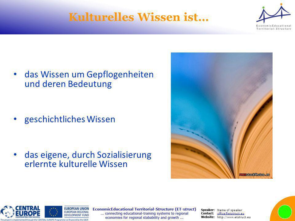 Name of speaker office@etstruct.eu http://www.etstruct.eu Kulturelles Wissen ist… das Wissen um Gepflogenheiten und deren Bedeutung geschichtliches Wissen das eigene, durch Sozialisierung erlernte kulturelle Wissen