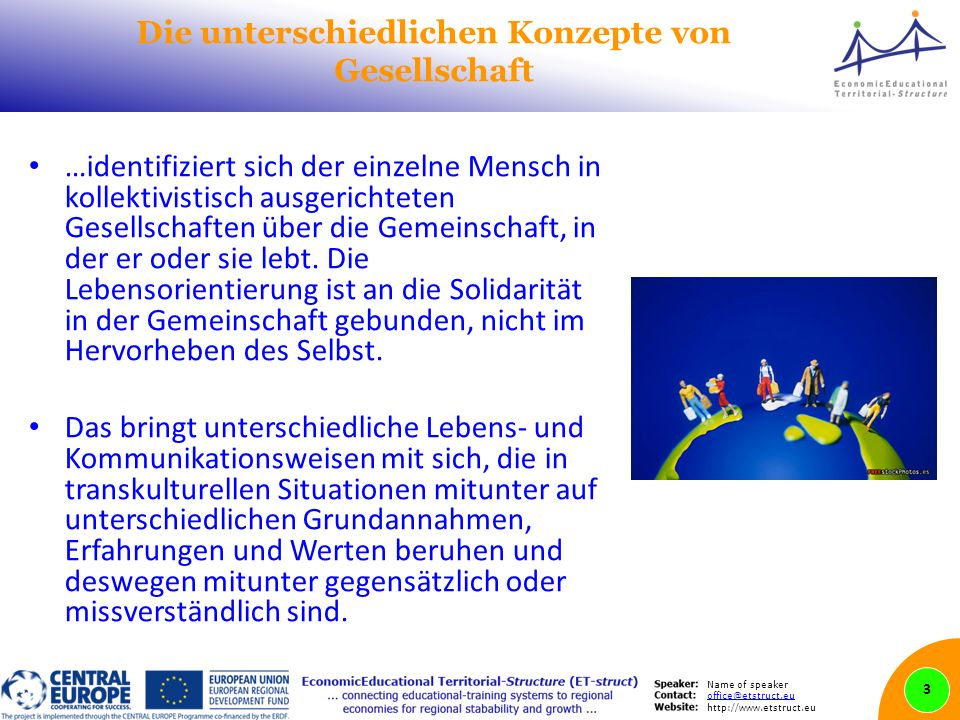 Name of speaker office@etstruct.eu http://www.etstruct.eu Die unterschiedlichen Konzepte von Gesellschaft …identifiziert sich der einzelne Mensch in kollektivistisch ausgerichteten Gesellschaften über die Gemeinschaft, in der er oder sie lebt.