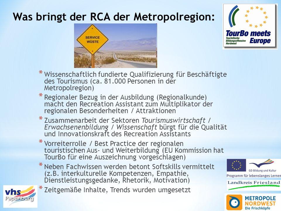 Was bringt der RCA der Metropolregion: * Wissenschaftlich fundierte Qualifizierung für Beschäftigte des Tourismus (ca. 81.000 Personen in der Metropol