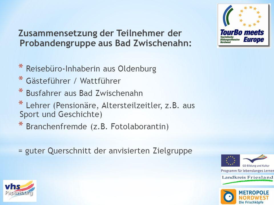 Zusammensetzung der Teilnehmer der Probandengruppe aus Bad Zwischenahn: * Reisebüro-Inhaberin aus Oldenburg * Gästeführer / Wattführer * Busfahrer aus