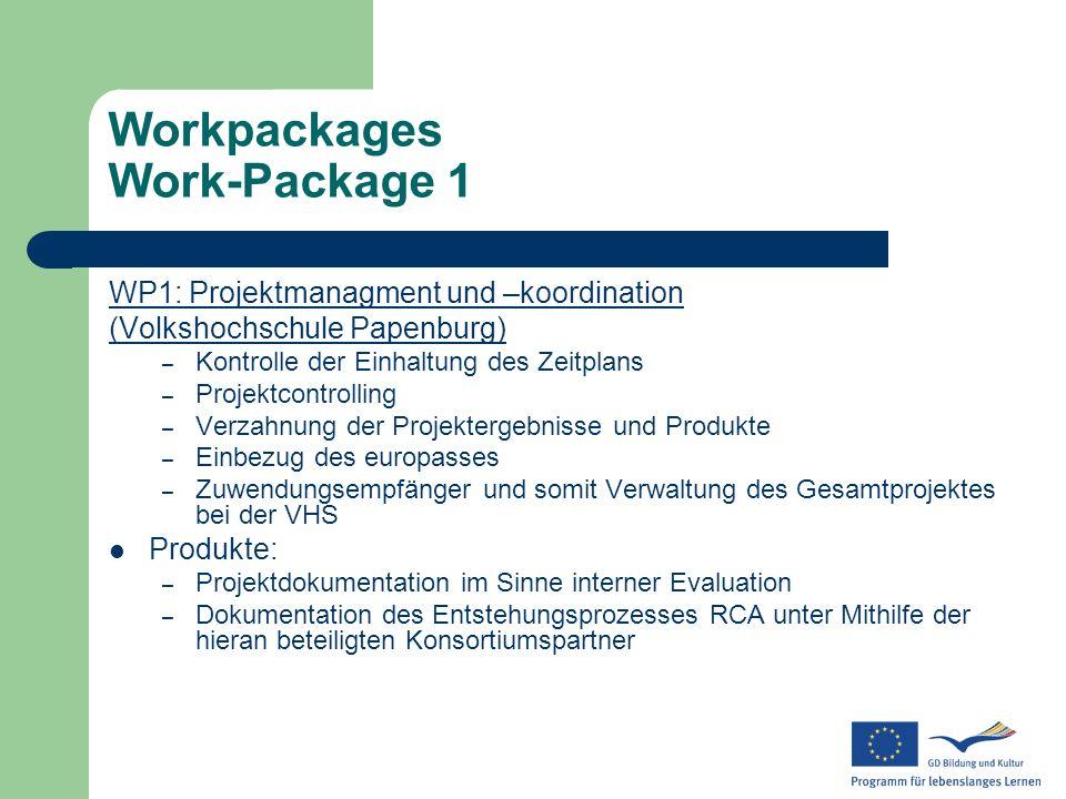 Workpackages Work-Package 1 WP1: Projektmanagment und –koordination (Volkshochschule Papenburg) – Kontrolle der Einhaltung des Zeitplans – Projektcont