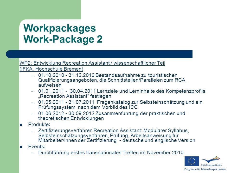 Workpackages Work-Package 2 WP2: Entwicklung Recreation Assistant / wissenschaftlicher Teil (IFKA, Hochschule Bremen) – 01.10.2010 - 31.12.2010 Bestan