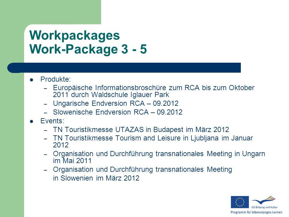 Workpackages Work-Package 3 - 5 Produkte: – Europäische Informationsbroschüre zum RCA bis zum Oktober 2011 durch Waldschule Iglauer Park – Ungarische