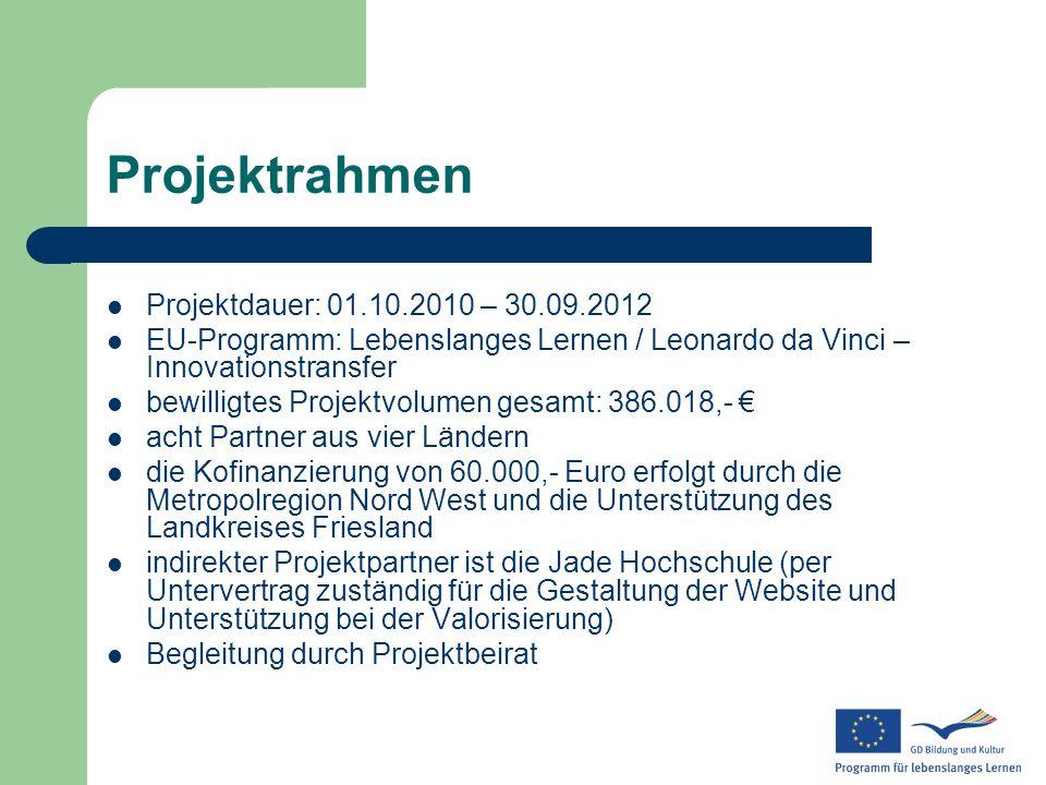 Projektrahmen Projektdauer: 01.10.2010 – 30.09.2012 EU-Programm: Lebenslanges Lernen / Leonardo da Vinci – Innovationstransfer bewilligtes Projektvolu