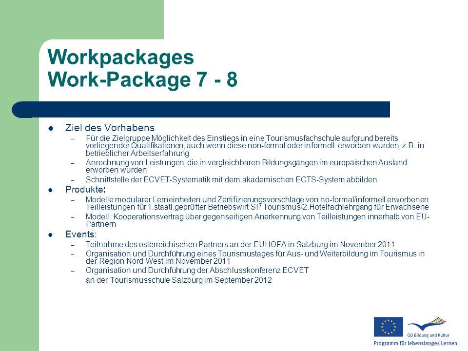 Workpackages Work-Package 7 - 8 Ziel des Vorhabens – Für die Zielgruppe Möglichkeit des Einstiegs in eine Tourismusfachschule aufgrund bereits vorlieg