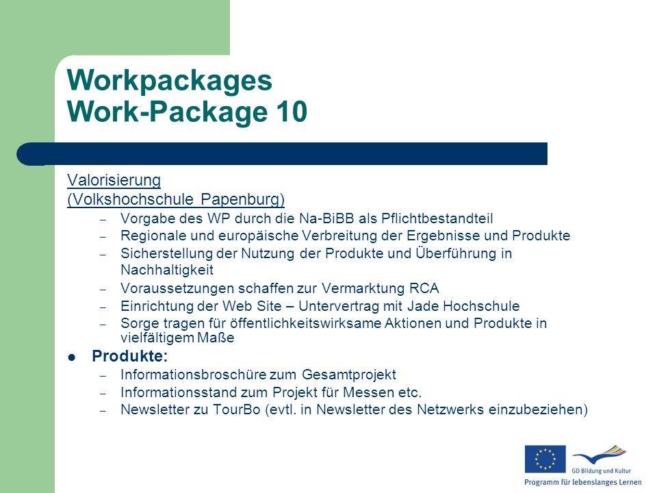 Workpackages Work-Package 10 Valorisierung (Volkshochschule Papenburg) – Vorgabe des WP durch die Na-BiBB als Pflichtbestandteil – Regionale und europ