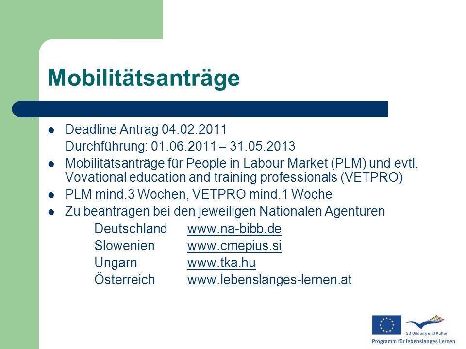 Mobilitätsanträge Deadline Antrag 04.02.2011 Durchführung: 01.06.2011 – 31.05.2013 Mobilitätsanträge für People in Labour Market (PLM) und evtl. Vovat