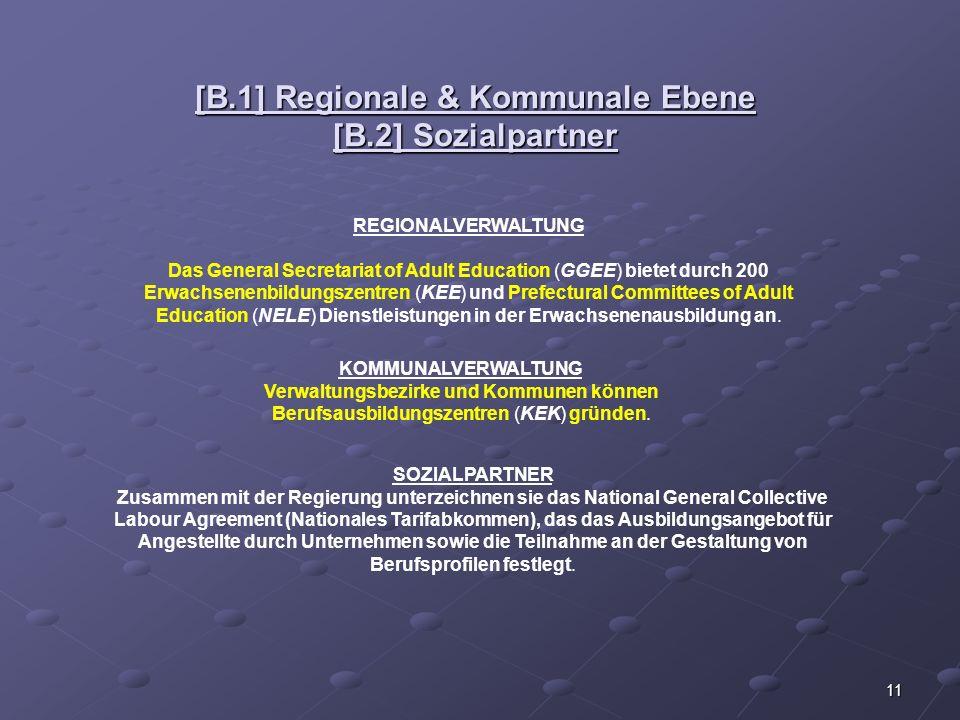 11 [B.1] Regionale & Kommunale Ebene [B.2] Sozialpartner REGIONALVERWALTUNG Das General Secretariat of Adult Education (GGEE) bietet durch 200 Erwachs