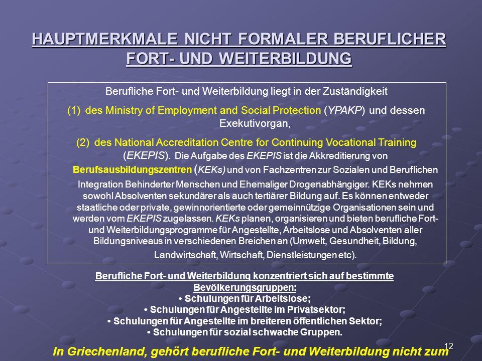 12 HAUPTMERKMALE NICHT FORMALER BERUFLICHER FORT- UND WEITERBILDUNG Berufliche Fort- und Weiterbildung liegt in der Zuständigkeit (1)des Ministry of E