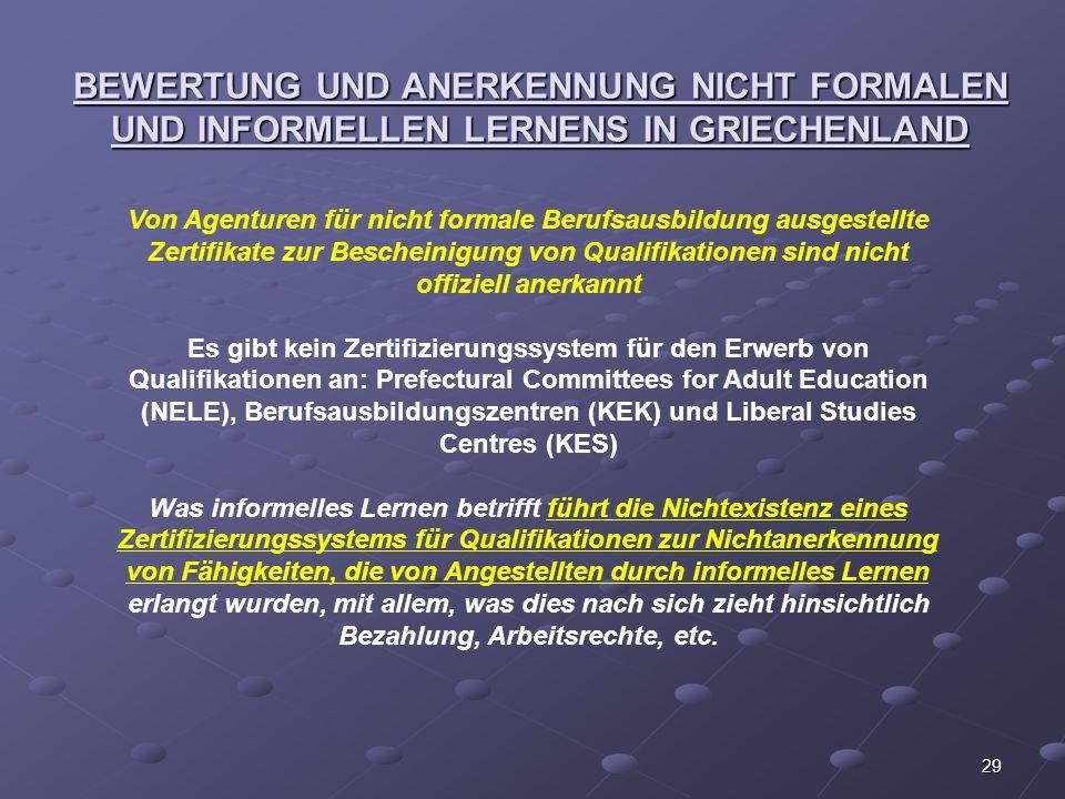 29 BEWERTUNG UND ANERKENNUNG NICHT FORMALEN UND INFORMELLEN LERNENS IN GRIECHENLAND Von Agenturen für nicht formale Berufsausbildung ausgestellte Zert