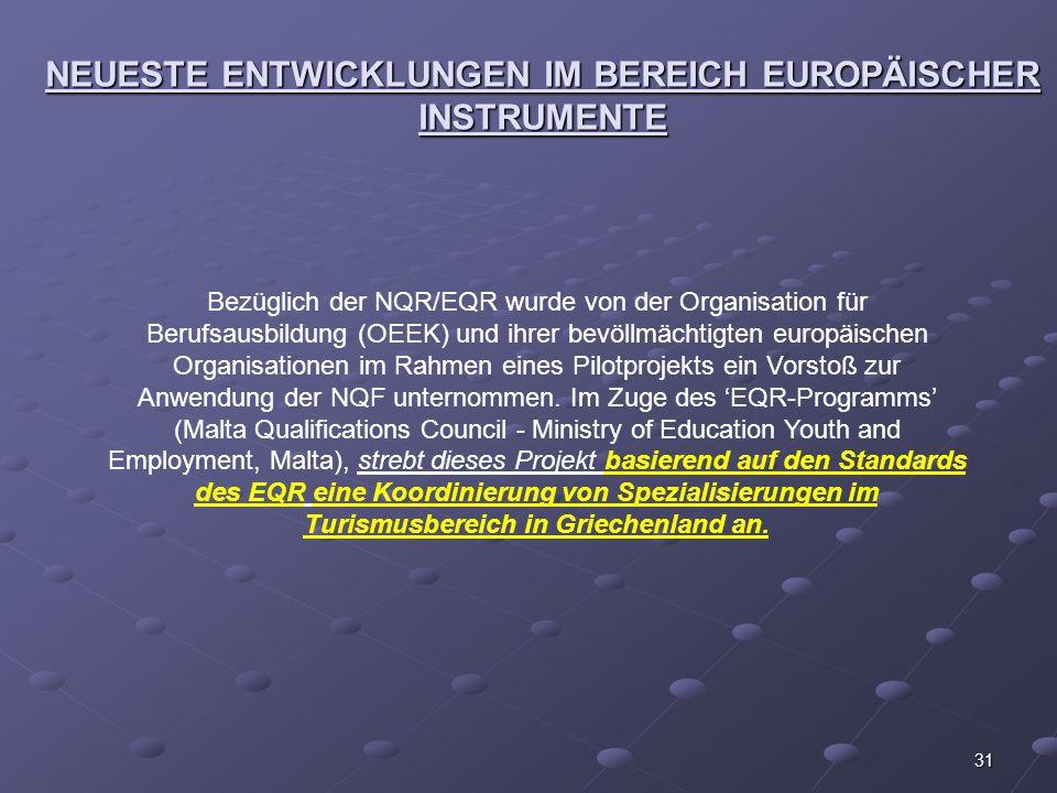 31 NEUESTE ENTWICKLUNGEN IM BEREICH EUROPÄISCHER INSTRUMENTE Bezüglich der NQR/EQR wurde von der Organisation für Berufsausbildung (OEEK) und ihrer be