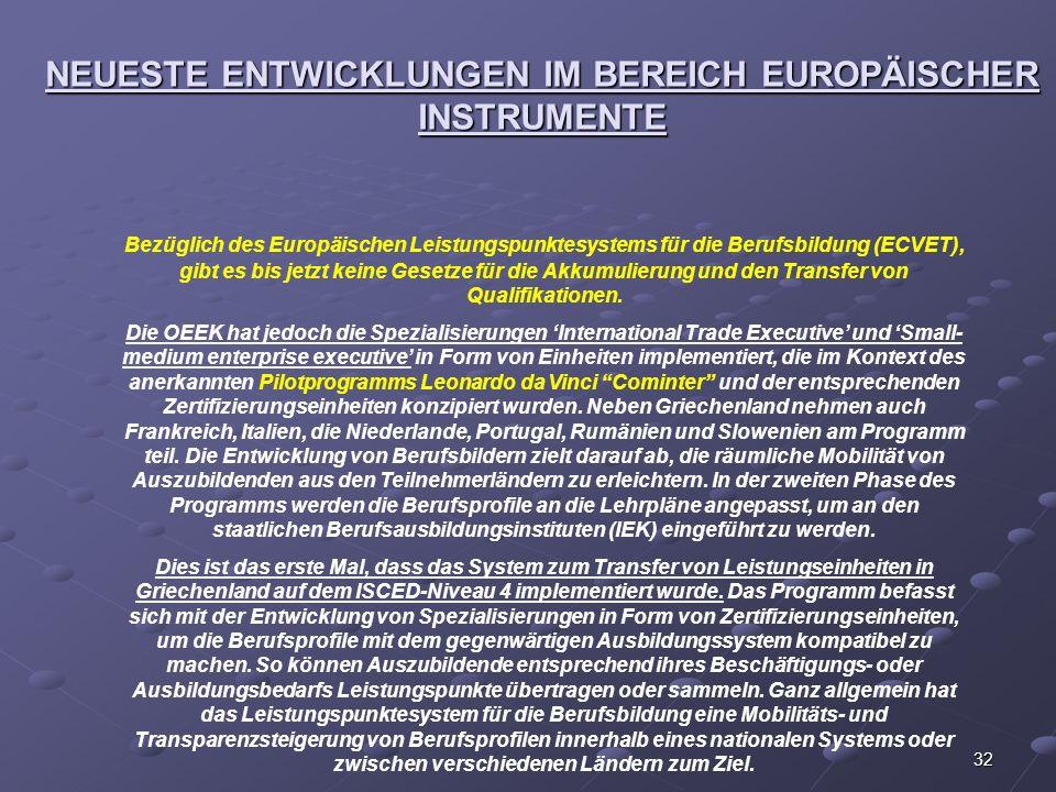 32 NEUESTE ENTWICKLUNGEN IM BEREICH EUROPÄISCHER INSTRUMENTE Bezüglich des Europäischen Leistungspunktesystems für die Berufsbildung (ECVET), gibt es