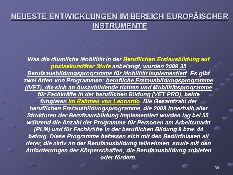34 NEUESTE ENTWICKLUNGEN IM BEREICH EUROPÄISCHER INSTRUMENTE Was die räumliche Mobilität in der Beruflichen Erstausbildung auf postsekundärer Stufe an